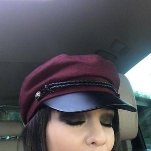 Maroon cabby hat